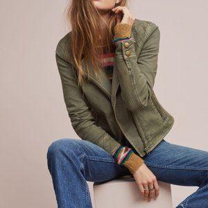 Anthropologie Green Moto Zip Jacket
